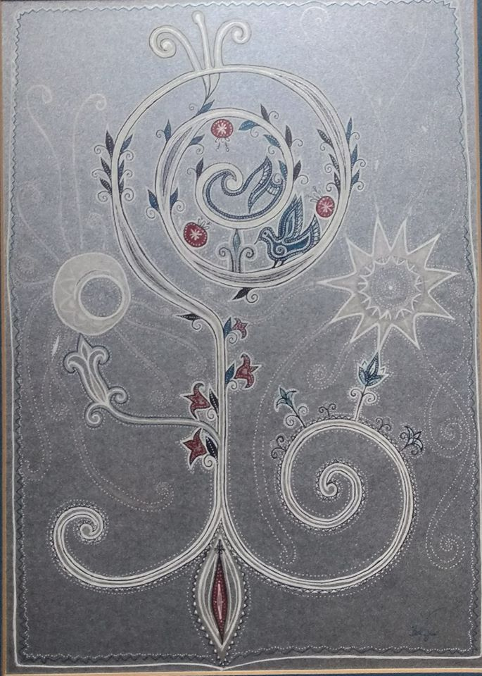 Kulcs. Életfa. Életösvény. A képet egy féldrágakővel bevont kartonra készítettem. fehér, piros, ezüst és arany színű vonalakkal. Egy spirális kulcs helyezkedik el a Hold és a Nap között, amelyből virágok és gyümölcsök nőnek ki.